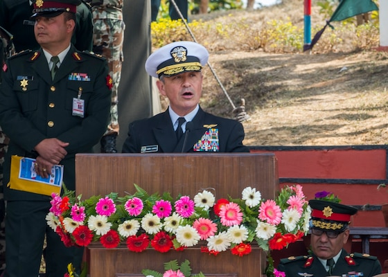 U.S. Pacific Command commander Admiral Harry Harris gives opening remarks at the Birendra Peace Operations Training Centre (BPOTC) in Nepal during the opening ceremony of exercise Shanti Prayas III. Shanti Prayas III is a multinational United Nations peacekeeping exercise designed to provide pre-deployment training to U.N. partner countries in preparation for real-world peacekeeping operations. (U.S. Navy Photo by Petty Officer 2nd Class Taylor Mohr)