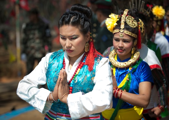 Nepalese performers stand by to give a cultural performance during the opening ceremony of Shanti Prayas III in Nepal.  Shanti Prayas III is a multinational United Nations peacekeeping exercise designed to provide pre-deployment training to U.N. partner countries in preparation for real-world peacekeeping operations. (U.S. Navy Photo by Petty Officer 2nd Class Taylor Mohr)