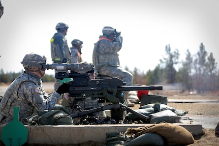 Sgt. Hector Orozco, Bravo Company, 301st Military Intelligence Battalion, Fort Shafter, Hawaii, fires 40mm grenades from the MK19 Automatic Grenade Launcher during a weapons qualification at the Operation Cold Steel exercise conducted at Fort McCoy, Wisconsin, Mar. 19, 2017. Operation Cold Steel is the U.S. Army Reserve's first large-scale live-fire training and crew-served weapons qualification and validation exercise. Cold Steel is an important step in ensuring that America's Army Reserve units and Soldiers are trained and ready to deploy on short-notice and bring combat-ready and lethal firepower in support of the Total Army and Joint Force partners anywhere in the world. 475 crews with an estimated 1,600 Army Reserve Soldiers will certify in M2, M19 and M240 Bravo gunner platforms across 12-day rotations through the seven-week exercise. In support of the Total Army Force, First Army Master Gunners participated in Cold Steel to provide expertise in crew level gunnery qualifications, and to develop Vehicle Crew Evaluator training, preparing units here and when they return to their home stations to conduct crew served weapons training and vehicle crew gunnery at the unit-level.  (U.S. Army Reserve photo by Master Sgt. Anthony L. Taylor)