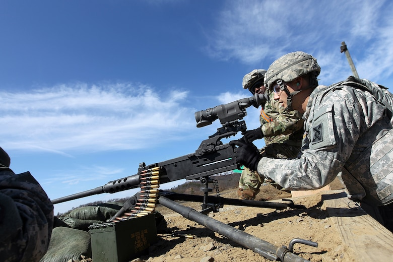 Spc. Daniel Cirino, Cargo Specialist assigned to the 489th Transportation Company, Jacksonville, Florida, fires an M2 .50 Caliber Machine Gun during a weapons qualification at the Operation Cold Steel exercise conducted at Fort McCoy, Wisconsin, Mar. 19, 2017. Operation Cold Steel is the U.S. Army Reserve's first large-scale live-fire training and crew-served weapons qualification and validation exercise. Cold Steel is an important step in ensuring that America's Army Reserve units and Soldiers are trained and ready to deploy on short-notice and bring combat-ready and lethal firepower in support of the Total Army and Joint Force partners anywhere in the world. 475 crews with an estimated 1,600 Army Reserve Soldiers will certify in M2, M19 and M240 Bravo gunner platforms across 12-day rotations through the seven-week exercise. In support of the Total Army Force, First Army Master Gunners participated in Cold Steel to provide expertise in crew level gunnery qualifications, and to develop Vehicle Crew Evaluator training, preparing units here and when they return to their home stations to conduct crew served weapons training and vehicle crew gunnery at the unit-level. 