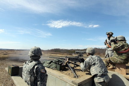 Spc. Daniel Cirino, Cargo Specialist assigned to the 489th Transportation Company, Jacksonville, Florida, fires an M2 .50 Caliber Machine Gun during a weapons qualification at the Operation Cold Steel exercise conducted at Fort McCoy, Wisconsin, Mar. 19, 2017. Operation Cold Steel is the U.S. Army Reserve's first large-scale live-fire training and crew-served weapons qualification and validation exercise. Cold Steel is an important step in ensuring that America's Army Reserve units and Soldiers are trained and ready to deploy on short-notice and bring combat-ready and lethal firepower in support of the Total Army and Joint Force partners anywhere in the world. 475 crews with an estimated 1,600 Army Reserve Soldiers will certify in M2, M19 and M240 Bravo gunner platforms across 12-day rotations through the seven-week exercise. In support of the Total Army Force, First Army Master Gunners participated in Cold Steel to provide expertise in crew level gunnery qualifications, and to develop Vehicle Crew Evaluator training, preparing units here and when they return to their home stations to conduct crew served weapons training and vehicle crew gunnery at the unit-level.  (U.S. Army Reserve photo by Master Sgt. Anthony L. Taylor)