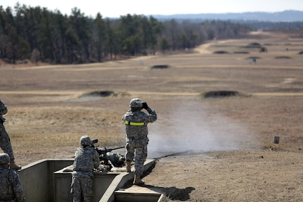 Sgt. Kristie Justice, Chemical, Biological Radiological, and Nuclear Specialist assigned to the 489th Transportation Company, Jacksonville, Florida, fires an M2 .50 Caliber Machine Gun during a weapons qualification at the Operation Cold Steel exercise conducted at Fort McCoy, Wisconsin, Mar. 19, 2017. Operation Cold Steel is the U.S. Army Reserve's first large-scale live-fire training and crew-served weapons qualification and validation exercise. Cold Steel is an important step in ensuring that America's Army Reserve units and Soldiers are trained and ready to deploy on short-notice and bring combat-ready and lethal firepower in support of the Total Army and Joint Force partners anywhere in the world. 475 crews with an estimated 1,600 Army Reserve Soldiers will certify in M2, M19 and M240 Bravo gunner platforms across 12-day rotations through the seven-week exercise. In support of the Total Army Force, First Army Master Gunners participated in Cold Steel to provide expertise in crew level gunnery qualifications, and to develop Vehicle Crew Evaluator training, preparing units here and when they return to their home stations to conduct crew served weapons training and vehicle crew gunnery at the unit-level. 