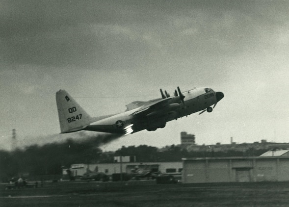 Marine Aerial Refueler Transport Squadron (VMGR) 152 takes off during jet-assisted take off training in November 1978. VMGR-152, also known as the Sumos, celebrated the 75th anniversary of the squadron at Marine Corps Air Station Iwakuni, Japan, March 9, 2017. Throughout the past seven and a half decades, VMGR-152 made its mark in Marine Corps history, accrediting their success to countless missions the squadron has flown during both combat support and humanitarian aid. (Courtesy photo)