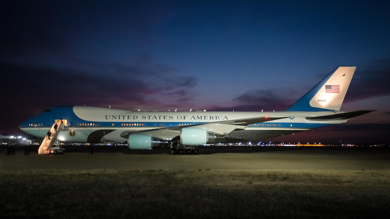 Air Force One sits on the flight line at the Kentucky Air National Guard Base in Louisville, Ky., March 20, 2017. President Donald Trump was in Louisville to attend a campaign rally at the Kentucky Exposition Center. (U.S. Air National Guard photo by Lt. Col. Dale Greer)