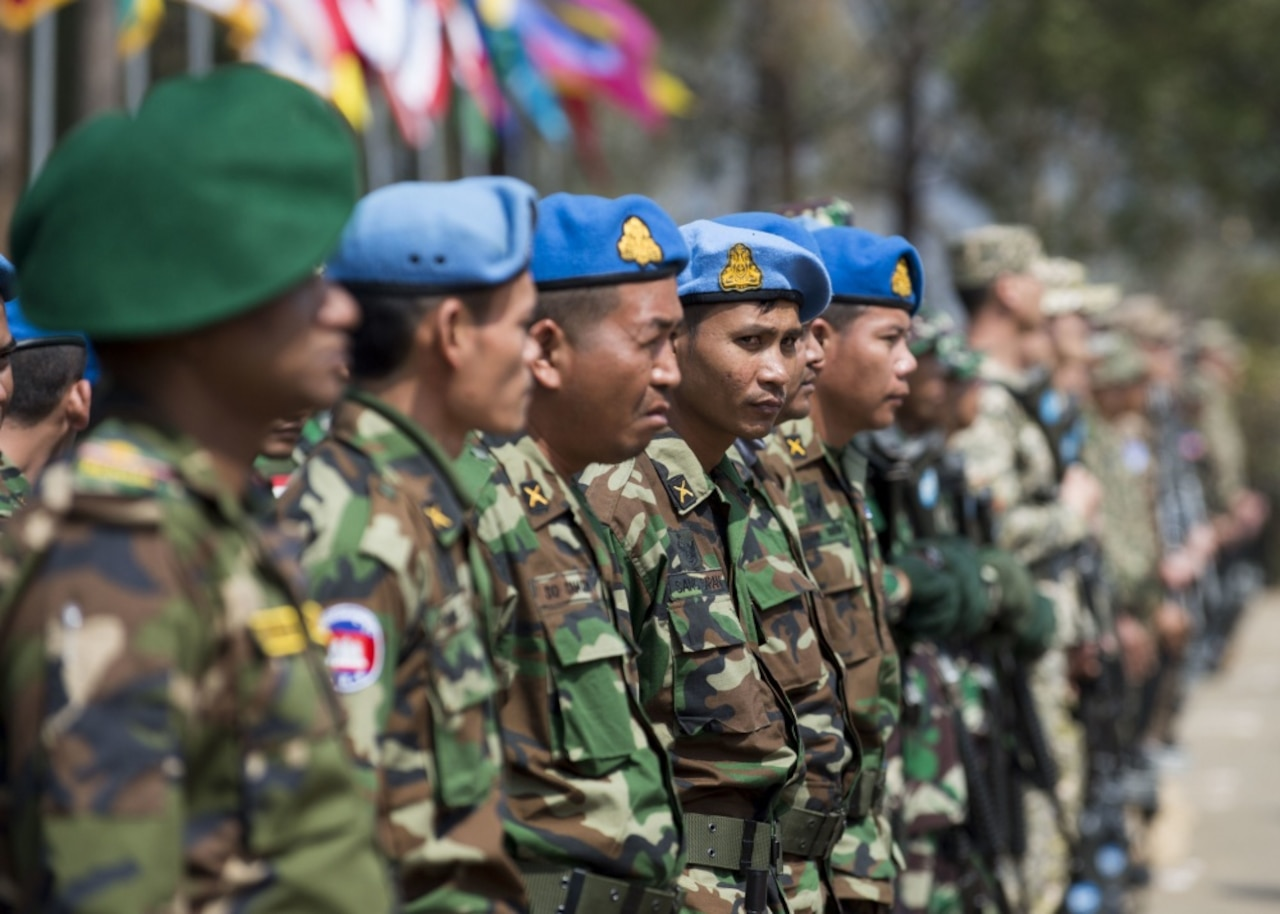 Cambodian soldiers stand in formation during the opening ceremony of Shanti Prayas III, a multinational United Nations peacekeeping exercise taking place in Nepal, March 20, 2017. Navy photo by Petty Officer 2nd Class Taylor Mohr