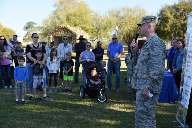 Col. Danny Davis, 81st Mission Support Group commander, delivers opening remarks during Operation Hero March 18, 2017, on Keesler Air Force Base, Miss. The activities at the event were designed to help children better understand what their parents do when they deploy. (U.S. Air Force photo by Kemberly Groue)