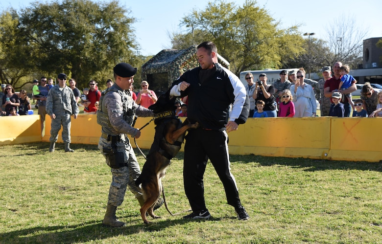 Staff Sgt. Matthew Ratchford and Senior Airmen Timothy Poissant, 81st Security Forces Squadron military working dog handlers, and Toki, 81st SFS military working dog, conduct a MWD demonstration during Operation Hero March 18, 2017, on Keesler Air Force Base, Miss. The activities at the event were to help children better understand what their parents do when they deploy. (U.S. Air Force photo by Kemberly Groue)