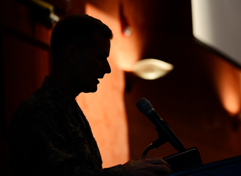 Maj. Gen. Dondi Costin, U.S. Air Force chief of chaplains, speaks during a National Prayer Breakfast event at Aviano Air Base, Italy, March 20, 2017. The event is held annually to bring people of all faiths together to pray. (U.S. Air Force photo by Staff Sgt. Krystal Ardrey)