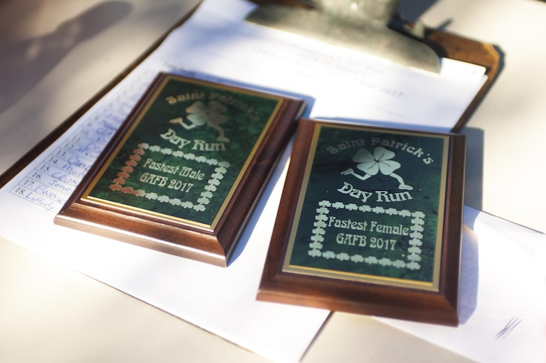 St. Patrick's day trophies for the winners of the St. Patrick's day run on Goodfellow Air Force Base, Texas, March 17th, 2017. The categories were divided by gender. (U.S. Air Force photo by Senior Airman Scott Jackson/Released)