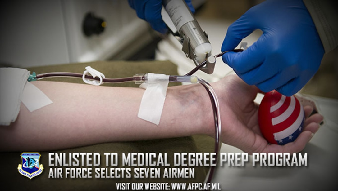 The Air Force has selected seven enlisted Airmen to participate in the Enlisted to Medical Degree Preparatory Program. The EMDP2 offers enlisted members an opportunity to complete the preparatory coursework for admission to medical school while maintaining active duty status and full pay and benefits. (U.S. Air Force photo by Tech. Sgt. Robert Cloys)