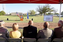 U.S. Air Force 2nd. Lt. Timothy Ruscio, 17th Civil Engineer Squadron operation engineer, provides the opening remarks for the new temporary lodging facility ground breaking near the base theater on Goodfellow Air Force Base, Texas March 20, 2017. The new TLF is designed to replace the 30-year-old units. (U.S. Air Force photo by Staff Sgt. Joshua Edwards/Released)