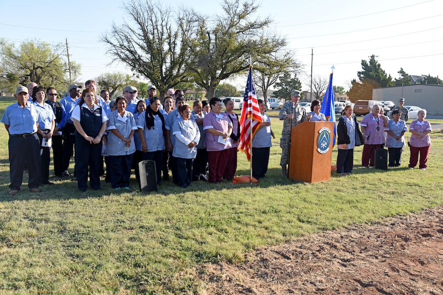 U.S. Air Force Col. Michael Downs, 17th Training Wing Commander, speaks during the new temporary lodging facility ground breaking near the base theater on Goodfellow Air Force Base, Texas March 20, 2017. During his speech, he invited all the hospitality staff to join him and thank them for their hard work. (U.S. Air Force photo by Staff Sgt. Joshua Edwards/Released)