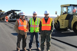 Engineers John Rushing, Jesse Doyle and Jeremy Robinson of ERDC-GSL provided continual inspection of the paving operation and helped identify deficiencies.