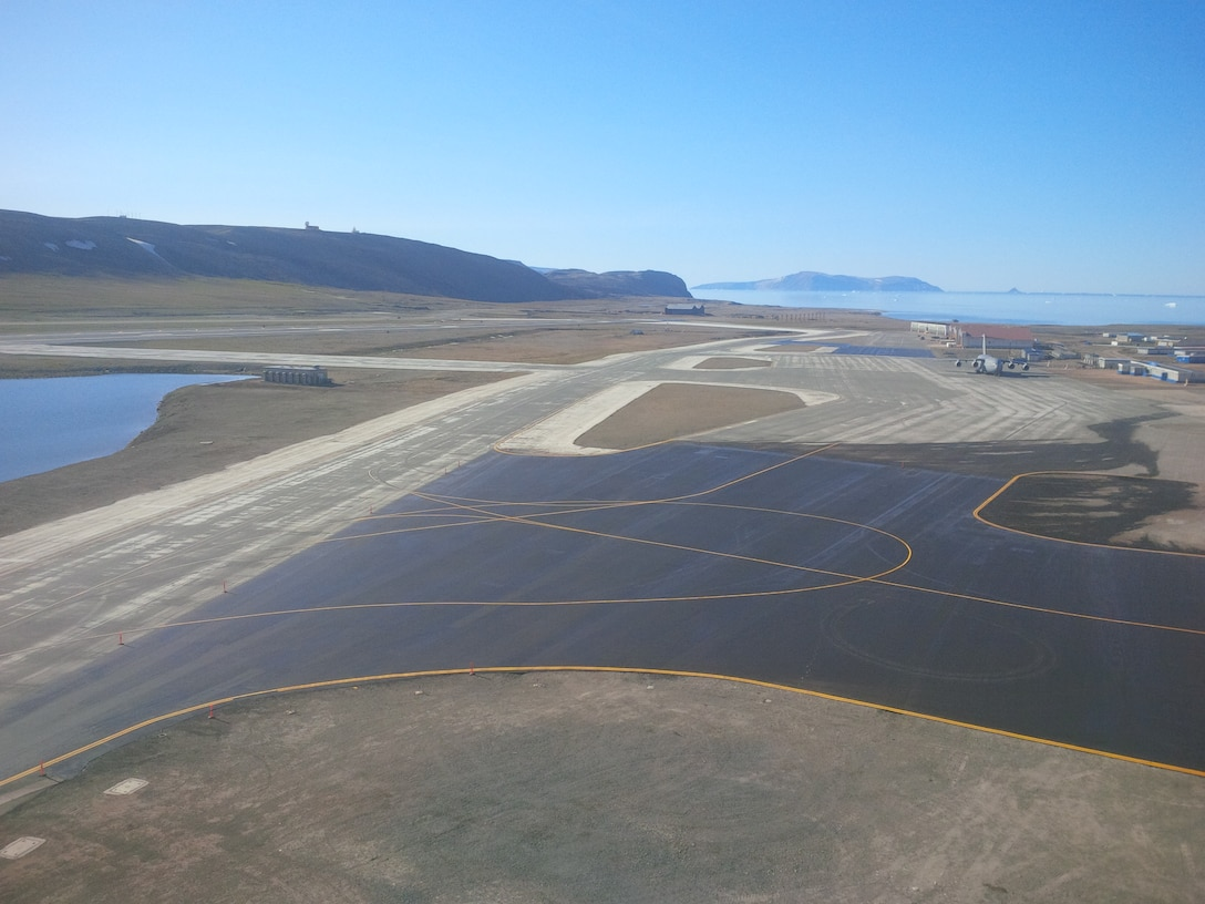 Airstrip at Thule, Greenland, where ERDC engineers worked to mitigate the effects of permafrost thaw damage to the runway.