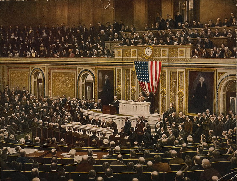 President Woodrow Wilson asks Congress to declare war on Germany, April 2, 1917. Library of Congress photo