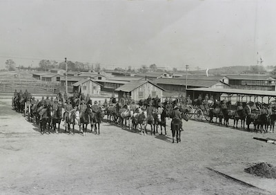 Army mounted cavalry and equipment form up at Camp Meade, Md., circa 1918. Library of Congress photo