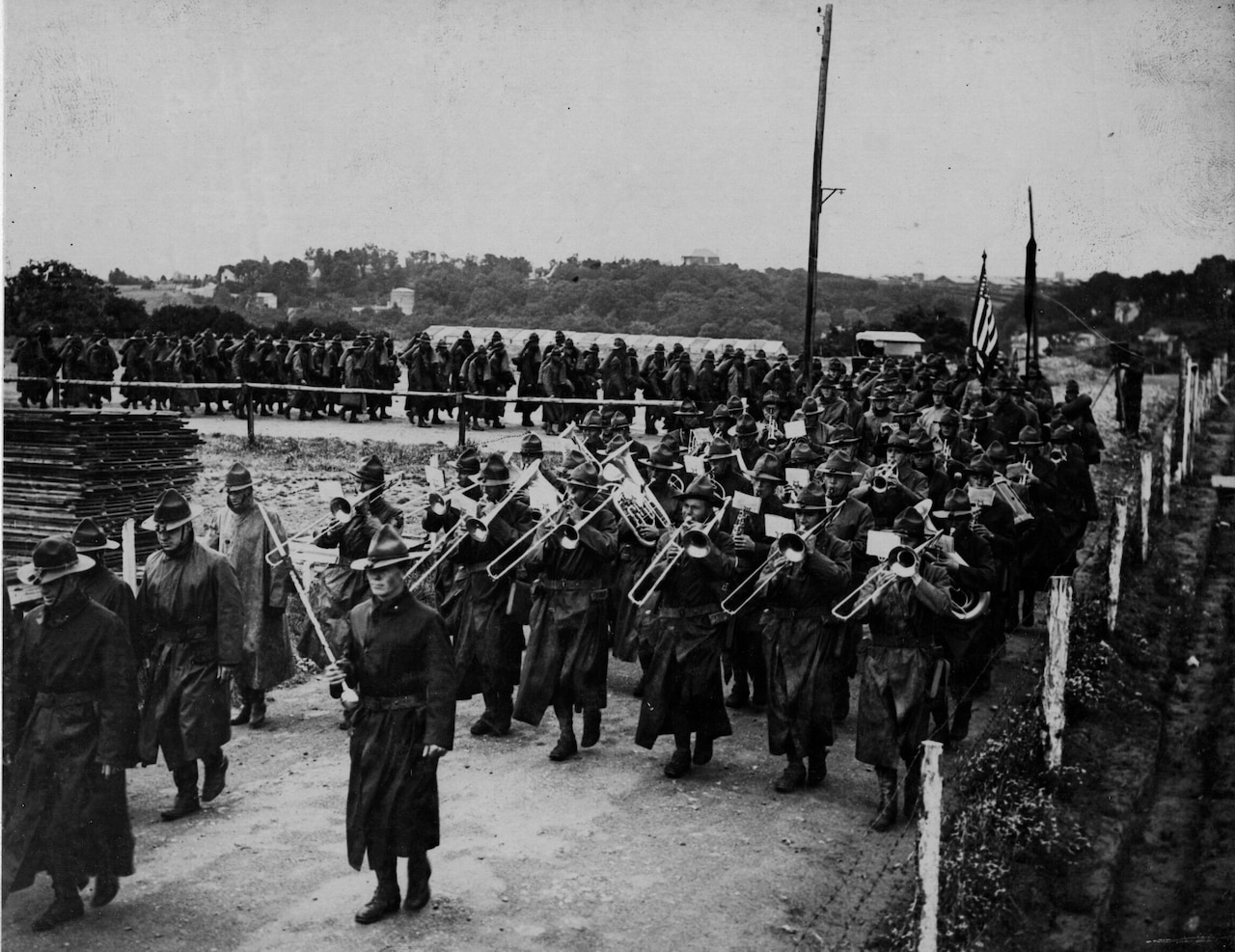 An American detachment leaves the docks of Le Havre, France, for the Western Front in July 1918. Army photo