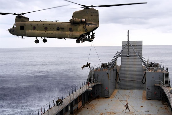 In this file photo, soldiers conduct air assault operations on the deck of the 8th Theater Sustainment Command's Logistical Support Vessel-2, the Harold C. Clinger off the coast of Honolulu, Jan. 11, 2016. The soldiers are assigned to the 25th Infantry Division.