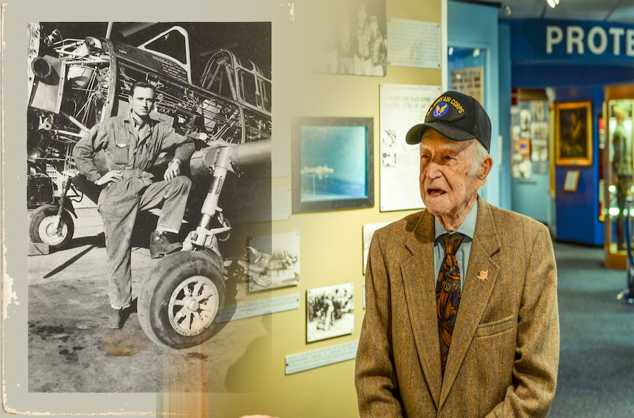 Returning to the military base that he helped build, 96-year-old John Durham toured Gunter and the Air Force Enlisted Heritage Museum, March 16, 2017. In 1940, Army Air Corps Sergeant Durham was stationed at then-Maxwell Field when plans were made to convert the Montgomery Municipal Airport into a preliminary flying school. Durham was one of the military members who turned the civilian airport into an Air Corps flying training base. Sergeant Durham is pictured with a Vultee BT-13 Valiant, a basic trainer aircraft flown at Gunter and a variation of which sits at Gunter's Dickinson Drive gate. Durham served from 1940-1945, and he was the owner of a watch store in Montgomery until retiring a few years ago. (U.S. Air Force image by Phil Berube)