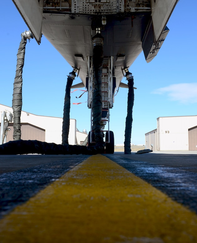 A B-1 bomber is hooked up to the Consolidated Aircraft Support System at Ellsworth Air Force Base, S.D., March 16, 2017.  Compared to the 20,000 pound air conditioner previously used for pre-flight, CASS is virtually quite, allowing maintainers to communicate more effectively during pre-flight inspections. (U.S. Air Force photo by Airman 1st Class Donald C. Knechtel)