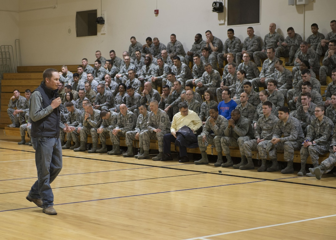 Deputy Chief of Safety Matt Chandler speaks during an All Call at Mountain Home Air Force Base, Idaho, March 16, 2017. Chandler talked about ways to be prepared during changes in the Idaho weather.