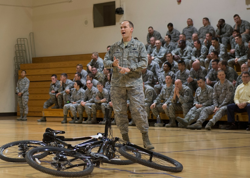 Col. Jefferson O'Donnell 366th Fighter Wing Commander speaks during an All Call at Mountain Home Air Force Base, Idaho, March 16, 2017. O'Donnell discussed some wing priorities which included F-15 sorties, developing leaders, being vigilant, enhancing readiness and telling the gunfighter story.