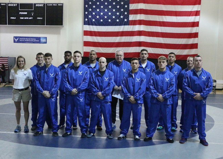 The 2017 Armed Forces Championship Air Force Wrestling team Febuary 26, 2017, at Joint Base McGuire-Dix-Lakehurst, NJ. (U.S Air Force courtesy photo)