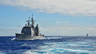 Official U.S. Navy file photo of guided-missile cruiser USS Lake Erie (CG 70) underway in the Pacific Ocean.