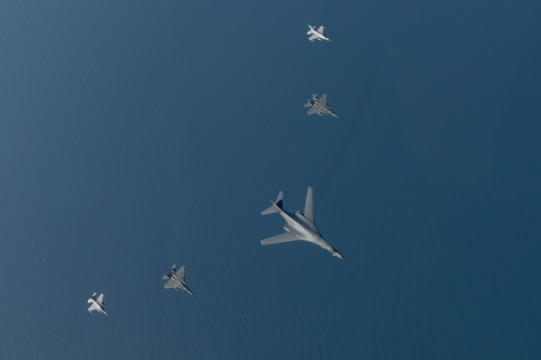 A U.S. Air Force B-1B Lancer flies in formation with Republic of Korea F-15Ks and F-16s in the vicinity of the Republic of Korea March 21, 2017. The sortie was carried out as part of U.S. Pacific Command's continuous bomber presence mission.