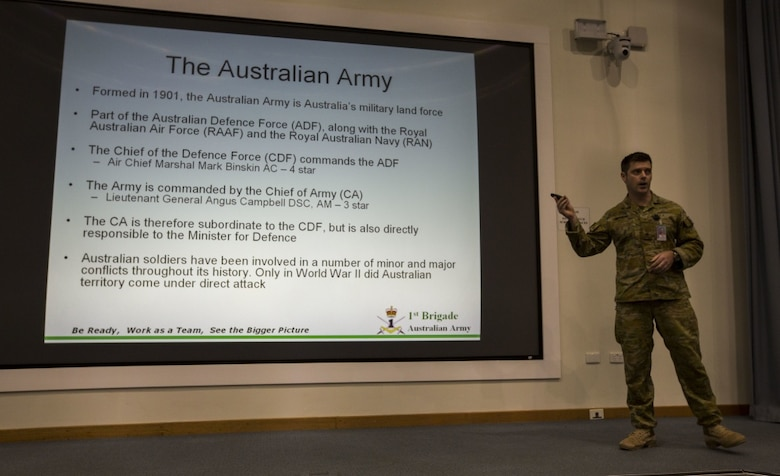 Major 1st Brigade, Wade Cooper, Australian Army, gives a speech at Rowell Centre on Robertson Barracks, Mar 17, 2017. Marines apart of Marine Rotational Force Darwin took classes to learn the history about the North Territory and the Australian Military. (U.S. Marine Corps photo by MCIPAC Combat Camera Lance Cpl. Damion Hatch Jr)