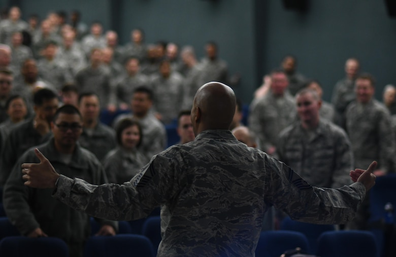 U.S. Air Force Senior Master Sgt. Keith Castille, Profession of Arms Center of Excellence Operations superintendent and instructor, teaches Team Osan members the core concepts of PACE's Enhancing Human Capital course at Osan Air Base, Republic of Korea, March 20, 2017. Activated on March 2, 2015, PACE has reached more than 67,000 people during its two-year implementation. (U.S. Air Force photo by Staff Sgt. Alex Fox Echols III/Released)