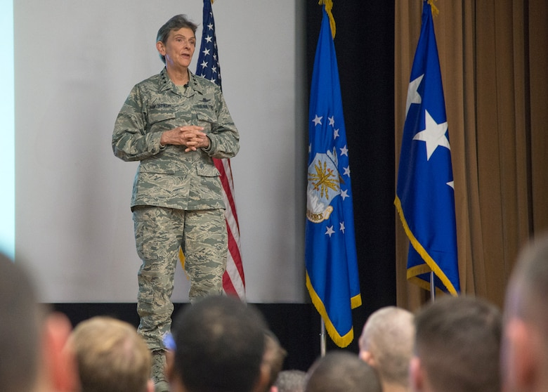 Gen. Ellen M. Pawlikowski, Air Force Materiel Command commander, speaks to employees during an all call at the base theater March 17. During the session, the general addressed the Air Force priorities as they relate to Air Force Chief of Staff Gen. David L. Goldfein's three focus areas and the command's strategic plan, goals and objectives. (U.S. Air Force photo by Mark Herlihy)