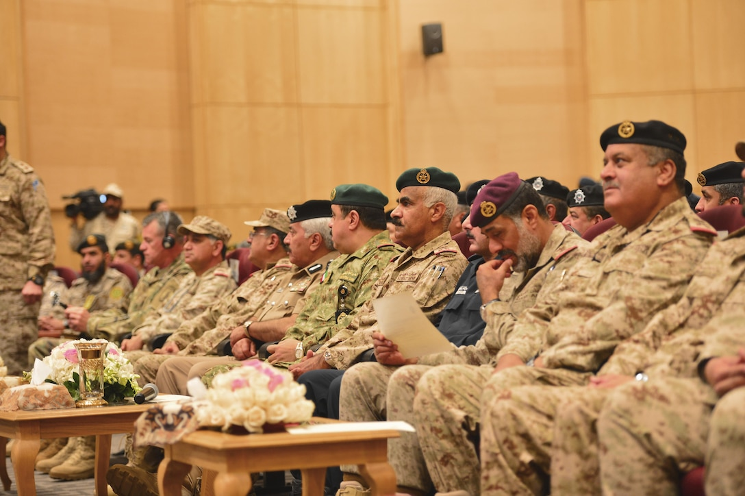 U.S. and Gulf Cooperation Council military personnel kick off the start of Exercise Eagle Resolve 17 in an opening ceremony Mar. 19, at the Kuwaiti Armed Forces Staff College in Kuwait. The exercise is designed to strengthen the U.S. and Gulf Cooperation Council military-to-military relationships, promote regional security and improve interoperability with partner nations. (U.S. Army photo Master Sgt. Timothy Lawn)