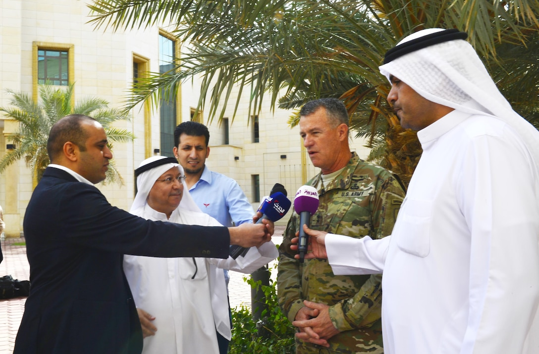 "U.S. Army Maj. Gen. Ralph H. Groover III, director of U.S. Central Command's Exercises and Training Directorate, conducts a media interview following the opening ceremony of Exercise Eagle Resolve 17.  ""Kuwait has been an incredible host for this exercise,"" said Groover. (U.S. Army photo Master Sgt. Timothy Lawn)"