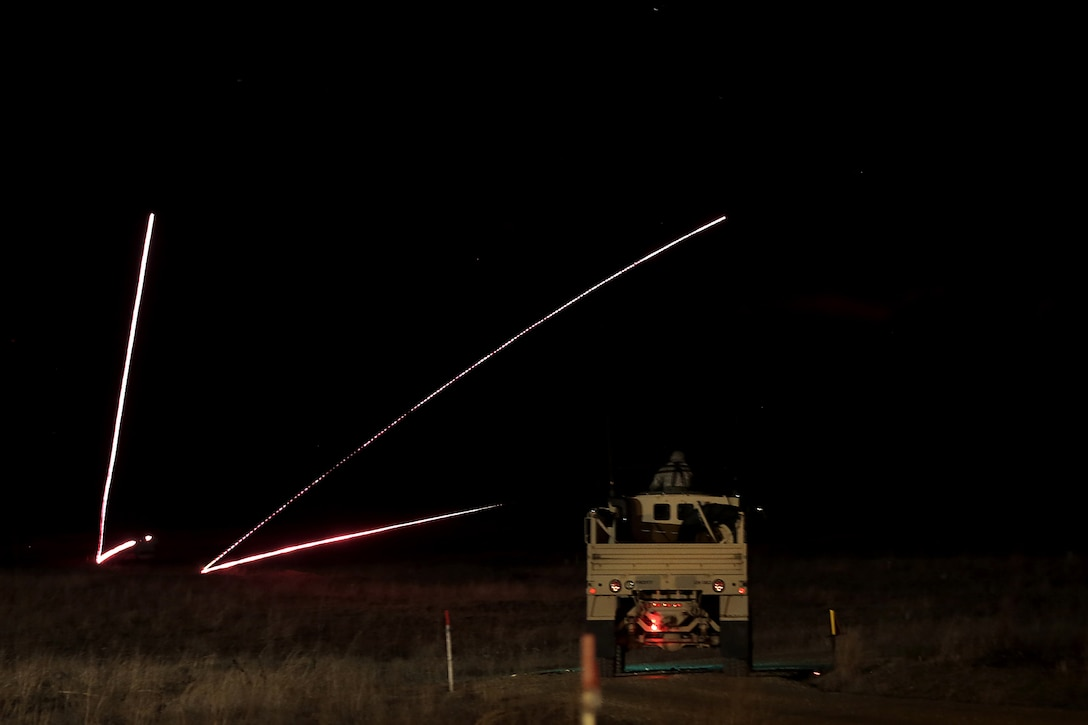 A Light Medium Tactical Vehicle gunnery crew engages targets during a night live-fire gunnery qualification at the Operation Cold Steel exercise conducted at Fort McCoy, Wisconsin, Mar. 20, 2017. Operation Cold Steel is the U.S. Army Reserve's first large-scale live-fire training and crew-served weapons qualification and validation exercise. Cold Steel plays a critical role in ensuring that America's Army Reserve units and Soldiers are trained and ready to deploy on short-notice and bring combat-ready and lethal firepower in support of the Total Army and Joint Force partners anywhere in the world. In support of the Total Army Force, First Army Master Gunners participated in Cold Steel to provide expertise in crew level gunnery qualifications, and to develop Vehicle Crew Evaluator training, preparing units here and when they return to their home stations to conduct crew served weapons training and vehicle crew gunnery at the unit-level. 475 crews with an estimated 1,600 Army Reserve Soldiers will certify in M2, M19 and M240 Bravo gunner platforms across 12-day rotations through the seven-week exercise.  (U.S. Army Reserve photo by Master Sgt. Anthony L. Taylor)