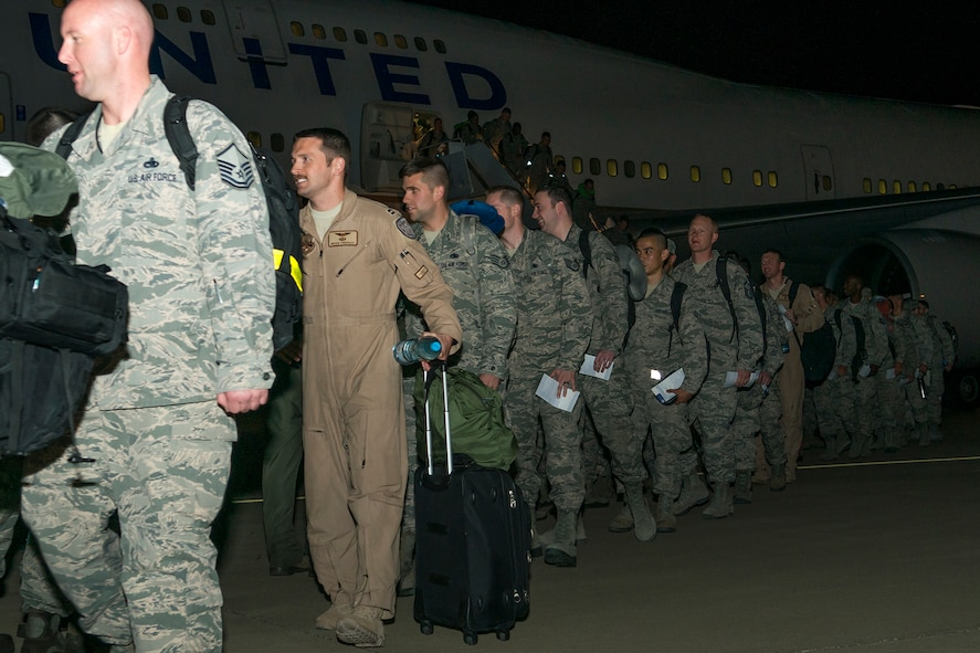 U.S. Air Force Airmen return home from a six-month deployment on Mar. 20, 2017, Barksdale Air Force Base, La. The Airmen are assigned to the 2nd Bomb Wing and the Air Force Reserve Command's 307th Bomb Wing and were deployed to Southwest Asia in support of Operations Inherent Resolve and Freedom's Sentinel. (U.S. Air Force photo by Master Sgt. Greg Steele/released)