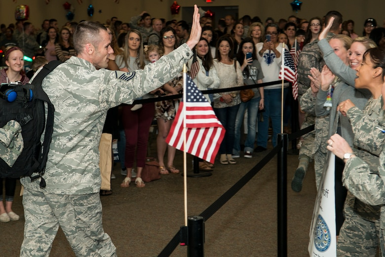 U.S. Air Force Airmen are welcomed home from a six-month deployment on Mar. 20, 2017, Barksdale Air Force Base, La. The Airmen are assigned to the 2nd Bomb Wing and the Air Force Reserve Command's 307th Bomb Wing and were deployed to Southwest Asia in support of Operations Inherent Resolve and Freedom's Sentinel. (U.S. Air Force photo by Master Sgt. Greg Steele/released)