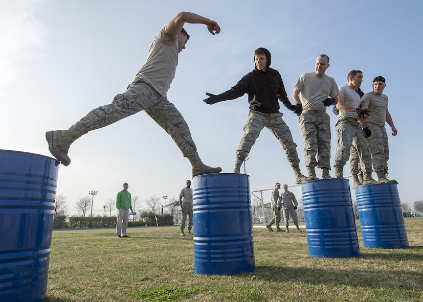 Airmen from the 31st Fighter Wing Staff Agencies participate in the first Combat Warrior Challenge at Aviano Air Base, March 16, 2017. Throughout the four-day competition teams were eliminated and more obstacles were added. (U.S. Air Force photo by Senior Airman Cory W. Bush)