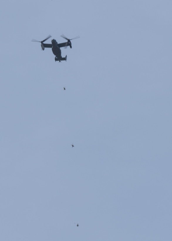 U.S. Air Force Air Commandos from the 321st Special Tactics Squadron perform a military free fall from a CV-22 Osprey March 17, 2017, over RAF Mildenhall, England. Military free fall is an alternative method of insertion Special Operations Forces use when landing a military aircraft is impractical due to rough terrain or hostile territory. (U.S. Air Force photo by Staff Capt Chris Sullivan)