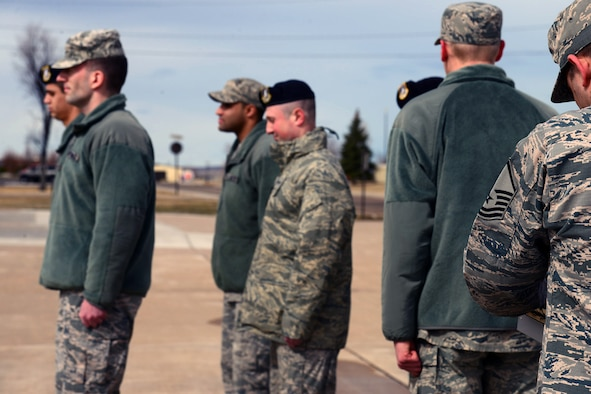 Airmen from the Malmstrom Airman Leadership School perform drill evaulations March 14, 2017, at Malmstrom Air Force Base, Mont. Drill evaluations are a part of the ALS cirriculum and are designed to honor military tradition and teach students leadership and followership traits. (U.S. Air Force photo/Senior Airman Magen M. Reeves)