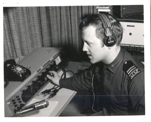 Cadet 1st Class John Severski adjusts the controls in the KAFA studio Jan. 17, 1971. The Academy's cadet-run radio station hit the airwaves just before 7 p.m. that day. The station is broadcast on 97.7 FM and is the voice of cadets in the Colorado Springs area and the world. (U.S. Air Force Academy McDermott Library Archives)
