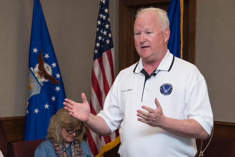 Dr. Joe Leverett, Altus Trophy selection committee chairman, speaks about the Altus Trophy history during the AETC Commander's Civic Leader Group tour March 22, 2017, at Joint Base San Antonio-Randolph, Texas. The trophy is presented annually by the AltusChamber of Commerce, located in Altus, Oklahoma, to a community judged to have shown outstanding support to an AETC base. (U.S. Air Force photo by Sean Worrell)