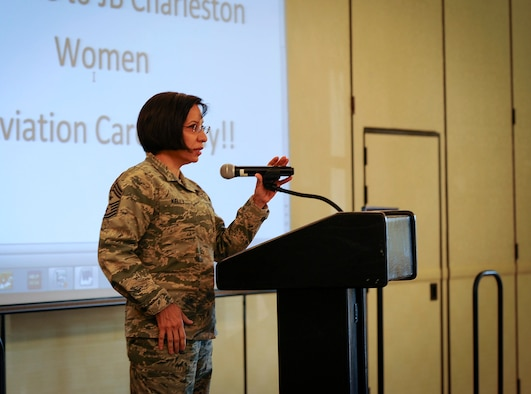 Air Force Reserve Command's Command Master Chief, Ericka Kelly shares her story about growing up in a poor family in Gutemala to her current role as AFRC's top enlisted Airman and her civilian job as a special agent with the Department of Homeland Security. the Command Chief was guest speaker at the 10th Annual Joint Base Charleston Women in Aviation Career Day March 20 at Joint Base Charleston, S.C. (U.S. Air Force photo by Senior Airman Tom Brading)