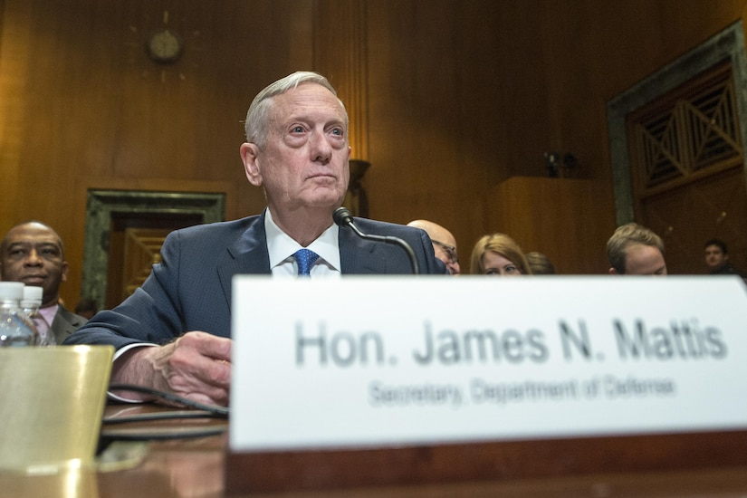 Defense Secretary Jim Mattis testifies on the Defense Department's  fiscal year 2017 budget proposal before the Senate Appropriations Committee's defense subcommittee in Washington, D.C., March 22, 2017. DoD photo by Navy Petty Officer 2nd Class Dominique A. Pineiro
