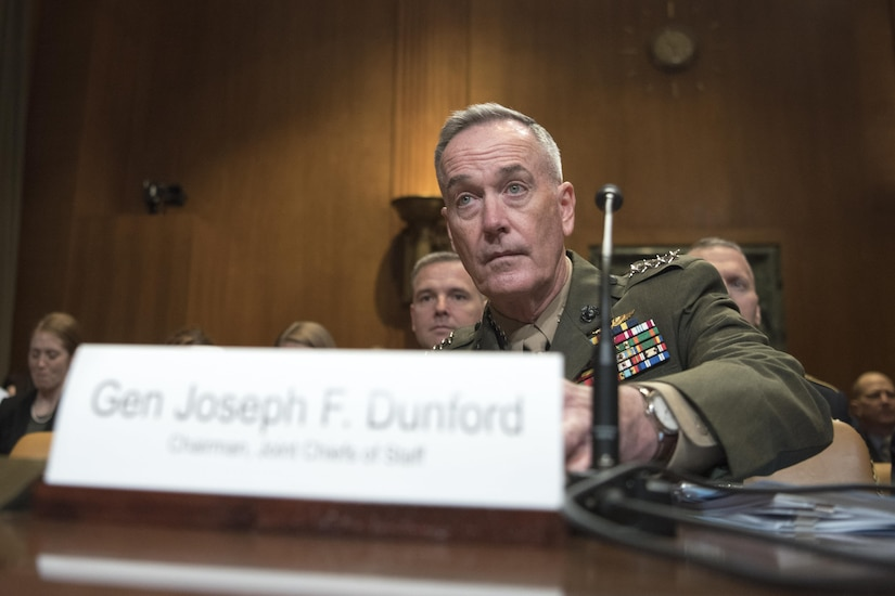 Defense Secretary Jim Mattis and Marine Corps Gen. Joe Dunford, chairman of the Joint Chiefs of Staff, speak at the Senate Appropriations Defense Subcommittee hearing on Capitol Hill, March 22, 2017. DoD photo by Navy Petty Officer 2nd Class Dominique A. Pineiro
