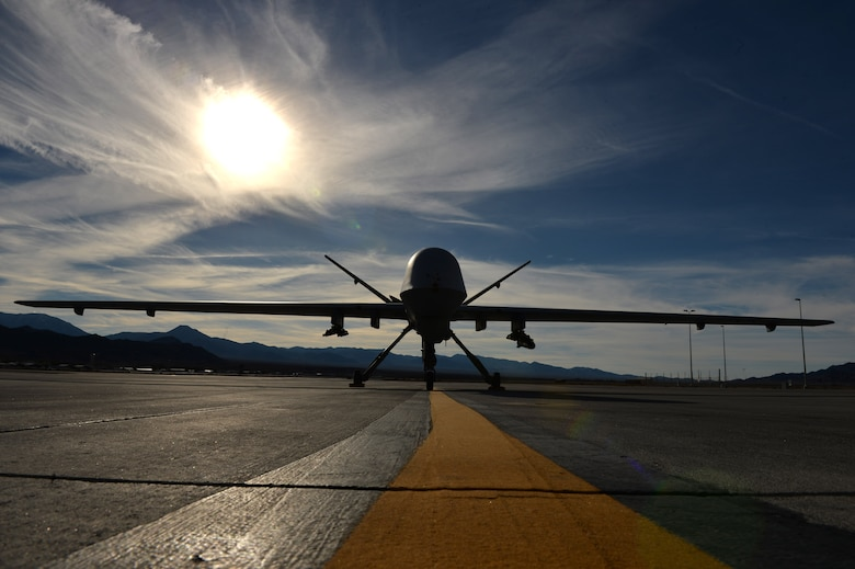 An MQ-9 Reaper remotely piloted aircraft awaits maintenance on the flightline Feb. 1, 2017, at Creech Air Force Base, Nev. RPAs are used in various missions to provide combatant commanders with persistent, dominant attack capabilities. (U.S. Air Force photo by Airman 1st Class Kristan Campbell)
