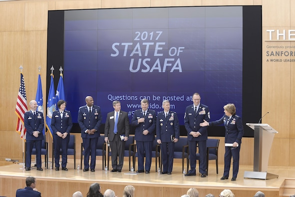 Lt. Gen. Michelle Johnson, the superintendent of the U.S. Air Force Academy, introduces seven senior Academy officials during her March 22, 2016, State of USAFA forum in Polaris Hall. The forum is an annual event updating civic leaders, the news media and industry partners, on the school's state of affairs and future plans. (U.S. Air Force photo/Mike Kaplan)