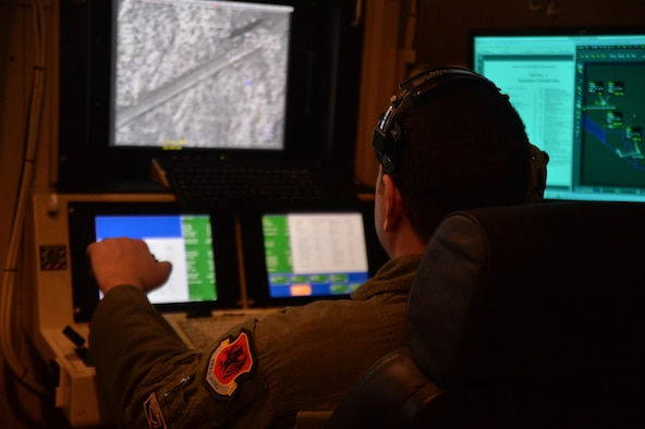 A sensor operator assigned to the 11th Attack Squadron trains in support of the launch and recovery missions March 2, 2017, at Creech Air Force Base, Nev. In addition to setting the standard of LRE training for MQ-1s and MQ-9s in the Air Force, the 11th also supports exercises involving these aircraft at the Nevada Test and Training Range. Exercises such as Red Flag, Green Flag and other advanced aerial combat training scenarios are made possible by the combined efforts of aircrews trained by the 11th ATKS FTU. (U.S. Air Force photo/Airman 1st Class Kristan Campbell)