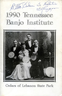 Baker, who played banjo and mandolin in addition to guitar, signed this program from the Tennessee Banjo Institute, an event last held in 1992 to bring together banjo players from across the world.