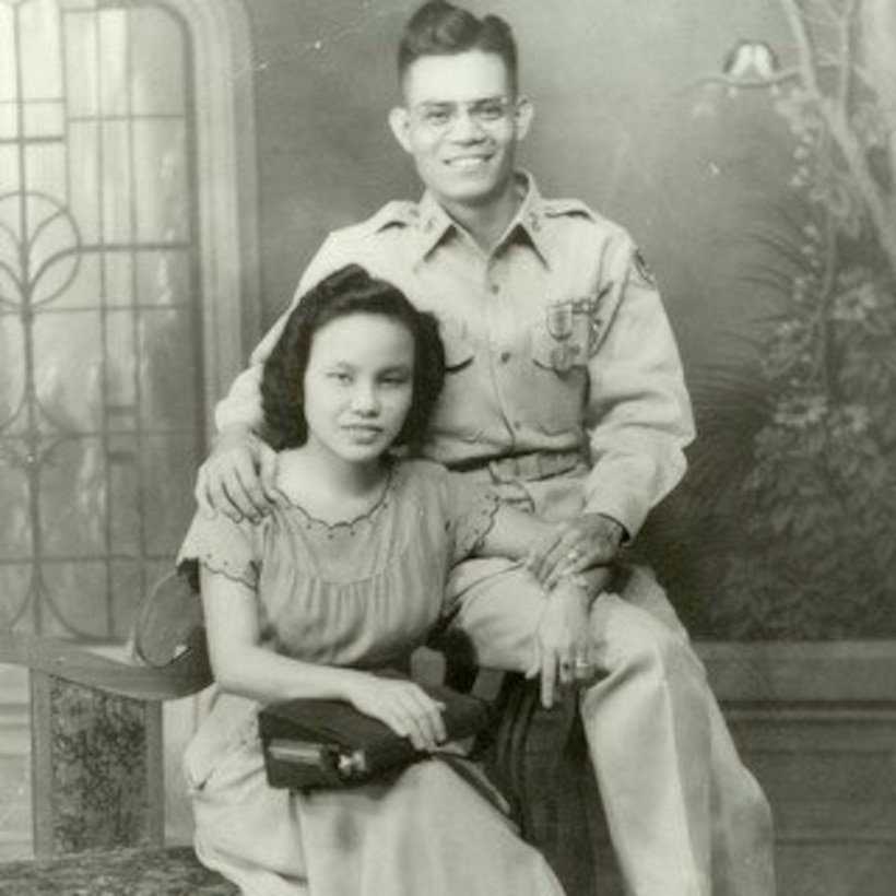 US. Army soldier Ricardo Plana, and his wife, Emerenciana Plana, pose for a photo in the Philippines, in between 1946 and 1949. Retired U.S. Army Sgt. Maj. Ricardo Plana and thousands more prisoners of war were forced to march 70 miles before entering concentration camps during WWII. To honor his and other POW's sacrifices, Plana's grandson, U.S. Air Force Staff Sgt. Max Biser, 23d Security Forces Squadron NCO in charge of confinement, marched 26.2 miles, March 19, 2017, at White Sands Missile Range, N. M. (courtesy photo)
